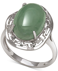 Dyed Jadeite (10mm x 14mm) Greek Key Statement Ring in Sterling Silver