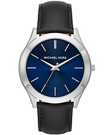 Michael Kors Men's Slim Runway Black Leather Strap Watch 44mm