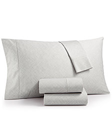 CLOSEOUT! Hotel Collection Cotton 525-Thread Count 4-Pc. Crosshatch Queen Sheet Set, Created for Macy's