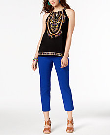 I.N.C. Embroidered Top & Cropped Pants, Created for Macy's