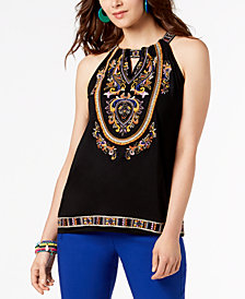 I.N.C. Embroidered Keyhole Top, Created for Macy's