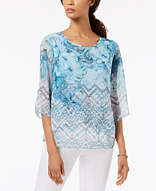JM Collection Petite Embellished Printed Cross-Hem Top, Created for Macy's