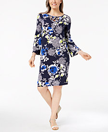 Alfred Dunner Royal Street Bell Sleeve Shift Dress