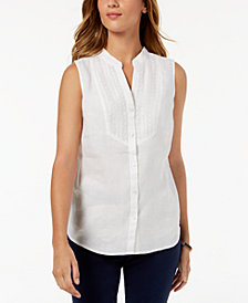 Charter Club Linen Embroidered Shirt, Created for Macy's