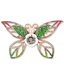 Betsey Johnson Rose Gold Tone Crystal U0026 Imitation Pearl Butterfly Pin