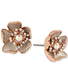 Betsey Johnson Rose Gold-Tone Crystal & Stone Flower Stud Earrings