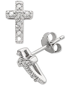 Diamond Cross Stud Earrings (1/10 ct. t.w.) in Sterling Silver