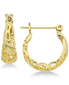 Essentials Filigree Small Hoop Earrings in Gold Plate