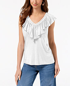 Style & Co Petite Ruffled-Neck Top, Created for Macy's