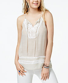 BCX Juniors' Gauzy Crochet Tank Top