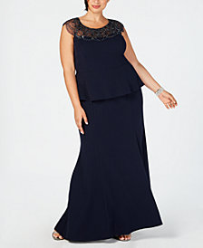 XSCAPE Plus Size Beaded-Yoke Mermaid Gown