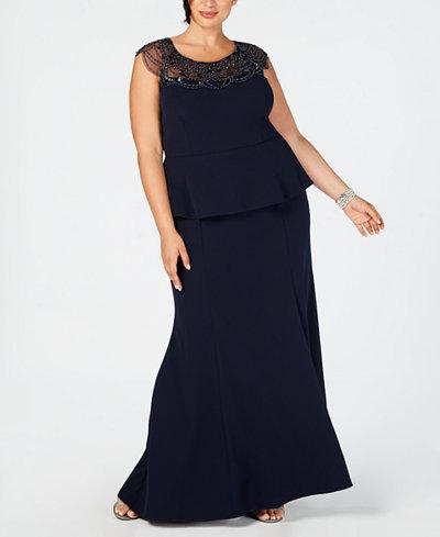 XSCAPE Plus Size Beaded-Yoke Mermaid Gown
