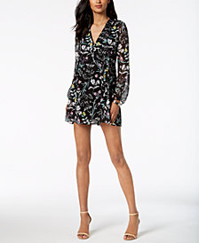 BCBGeneration Floral-Print Bow-Back Shift Dress