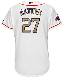 Majestic Women's Jose Altuve Houston Astros Gold Replica Cool Base Jersey