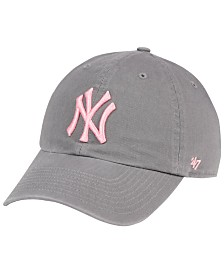 '47 Brand New York Yankees Dark Gray Pink CLEAN UP Cap