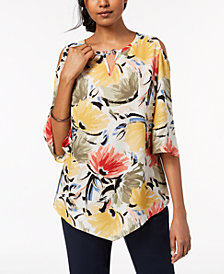 JM Collection Cold-Shoulder Keyhole Top, Created for Macy's