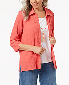 Alfred Dunner Petite Bubble-Gauze Layered-Look Necklace Top