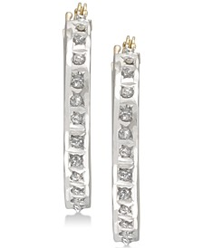 Diamond Accent Crystallized Diamond Dust Hoop Earrings