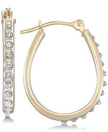 Diamond Fascination Diamond Accent Oval Hoop Earrings