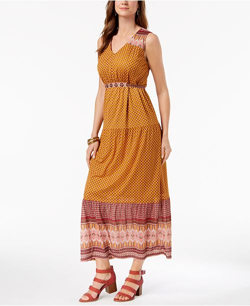 Dress Macy's Style Created Maxi for amp; Print Co Geo Jacquard Jubilant XTwnZFqR