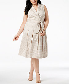 Anne Klein Plus Size Printed Faux-Wrap Dress