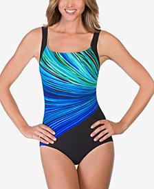 Reebok Fire Water Printed One-Piece Swimsuit