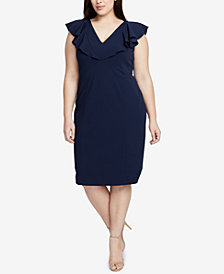 RACHEL Rachel Roy Trendy Plus Size Flutter-Sleeve Sheath Dress