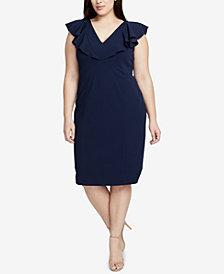 RACHEL Rachel Roy Trendy Plus Size Flutter-Sleeve Sheath Dress