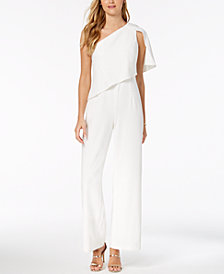 Adrianna Papell Draped One-Shoulder Jumpsuit