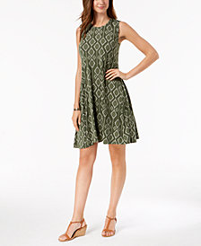 Style & Co Petite Ikat-Print Sleeveless Swing Dress, Created for Macy's