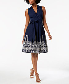 Ivanka Trump Cotton Embroidered Wrap Dress
