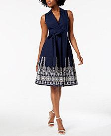 Ivanka Trump Cotton Embroidered Wrap Dress