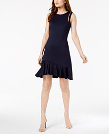 Ivanka Trump Faux-Pearl-Embellished Ruffled-Hem Sheath Dress