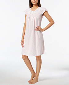 Miss Elaine Knit Lace-Trim Nightgown