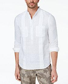 Tasso Elba Men's Guayabera Banded Collar Linen Shirt, Created for Macy's