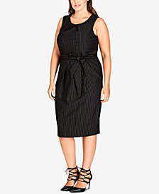 City Chic Trendy Plus Size Pleated Pinstriped Dress