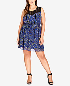 City Chic Trendy Plus Size Floral-Print Peasant Dress