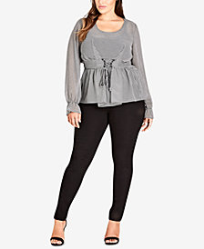 City Chic Trendy Plus Size Gingham Belted Blouse