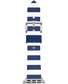Women's Navy & White Striped Silicone Apple Watch® Strap