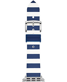 kate spade new york Women's Navy & White Striped Silicone Apple Watch® Strap