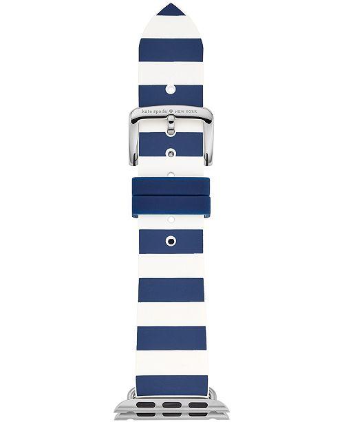 kate spade new york Women's Navy & White Striped Silicone Apple Watch® Strap