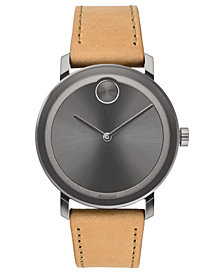 Movado Men's Swiss BOLD Evolution Beige Leather Strap Watch 40mm, Created for Macy's