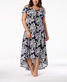NY Collection Plus & Petite Plus Size Cold-Shoulder Fit & Flare Dress