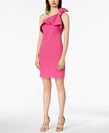 Vince Camuto One-Shoulder Bow-Trim Sheath Dress