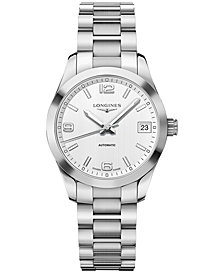 Longines Women's Swiss Automatic Conquest Classic Stainless Steel Bracelet Watch 34mm