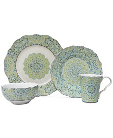 222 Fifth Lyria Teal 16-Pc. Dinnerware Set, Service for 4
