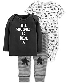 Carter's Baby Boys 3-Pc. Cotton Snuggle T-Shirt, Bodysuit & Pants Set