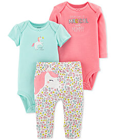 Carter's Baby Girls 3-Pc. Cotton Unicorn Bodysuits & Pants Set