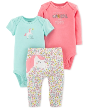 Carters Baby Girls 3Pc Cotton Unicorn Bodysuits  Pants Set