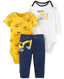 Carter's Baby Boys 3-Pc. Construction Bodysuits & Pants Set